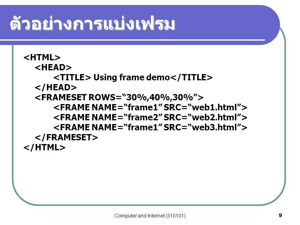 Computer and Internet (310101)30 คำสั่ง INPUT กับแบบข้อมูลชนิด TEXT เป็นแบบข้อมูลที่ผู้ใช้ป้อนข้อความลงในช่องรับข้อมูลในแบบฟอร์ม เพียงบรรทัดเดียว มีตัวเลือกที่ใช้ร่วมกับคำสั่งคือ  SIZE กำหนดขนาดของช่องรับข้อมูล  NAME กำหนดชื่อข้อมูล (ตัวแปร) ที่ใช้เก็บข้อมูล  VALUE บอกค่าที่กำหนดไว้แล้ว ถ้าไม่ป้อนค่าเข้ามาจะถือว่าเป็น default ตัวอย่าง ชื่อ: <INPUT TYPE=TEXT NAME = fNAME SIZE = 40>