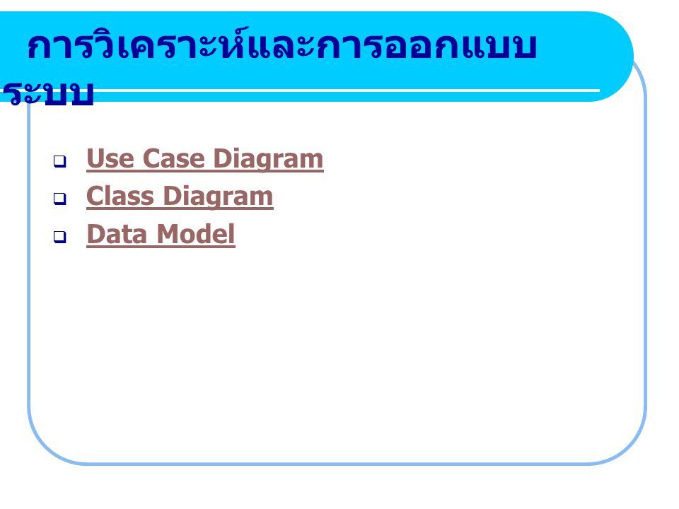 การวิเคราะห์และการออกแบบ ระบบ  Use Case Diagram Use Case Diagram  Class Diagram Class Diagram  Data Model Data Model