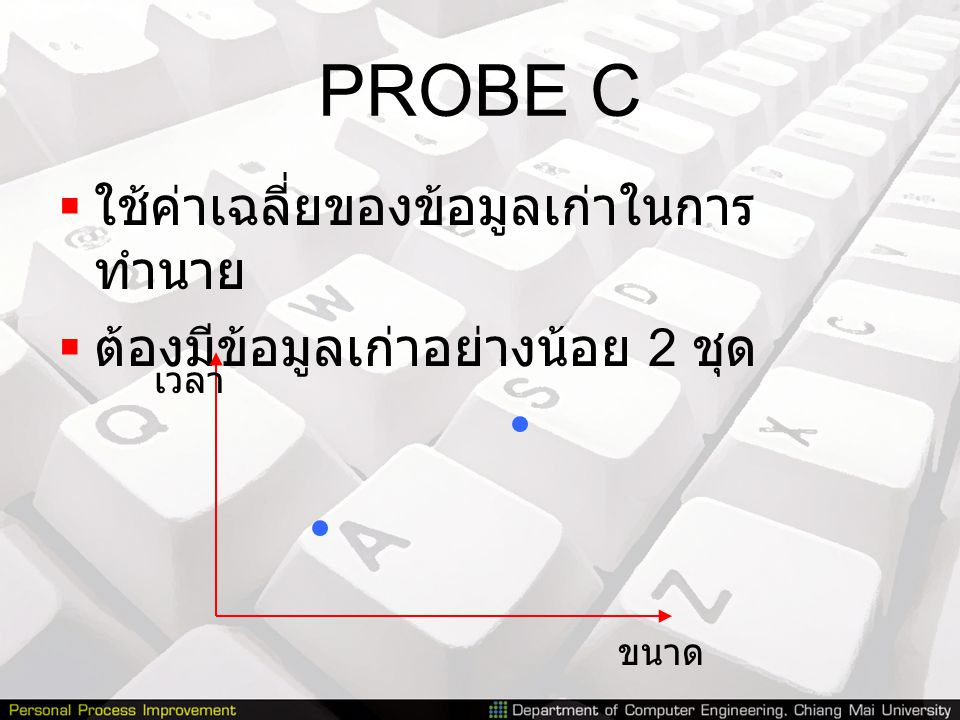PROBE C  ใช้ค่าเฉลี่ยของข้อมูลเก่าในการ ทำนาย  ต้องมีข้อมูลเก่าอย่างน้อย 2 ชุด ขนาด เวลา