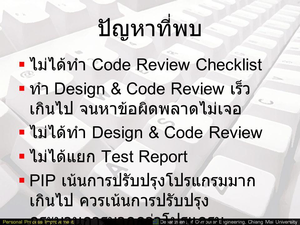 ปัญหาที่พบ  ไม่ได้ทำ Code Review Checklist  ทำ Design & Code Review เร็ว เกินไป จนหาข้อผิดพลาดไม่เจอ  ไม่ได้ทำ Design & Code Review  ไม่ได้แยก Tes