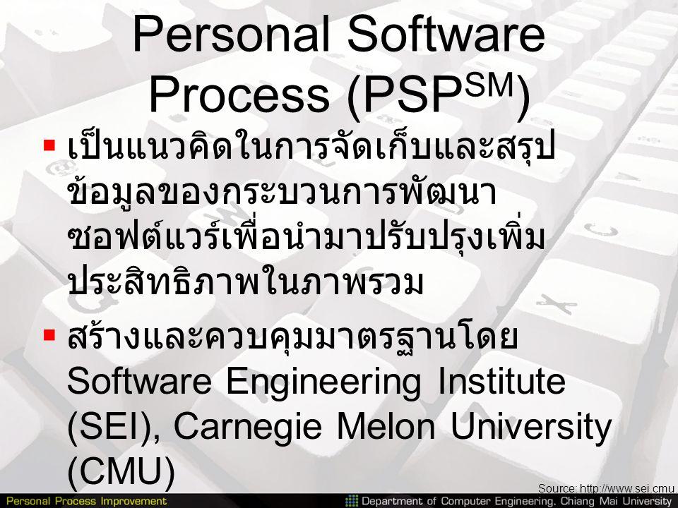Personal Software Process (PSP SM )  เป็นแนวคิดในการจัดเก็บและสรุป ข้อมูลของกระบวนการพัฒนา ซอฟต์แวร์เพื่อนำมาปรับปรุงเพิ่ม ประสิทธิภาพในภาพรวม  สร้า