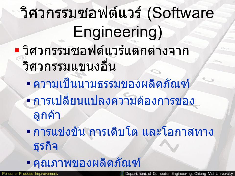 วิศวกรรมซอฟต์แวร์ (Software Engineering)  วิศวกรรมซอฟต์แวร์แตกต่างจาก วิศวกรรมแขนงอื่น  ความเป็นนามธรรมของผลิตภัณฑ์  การเปลี่ยนแปลงความต้องการของ ล