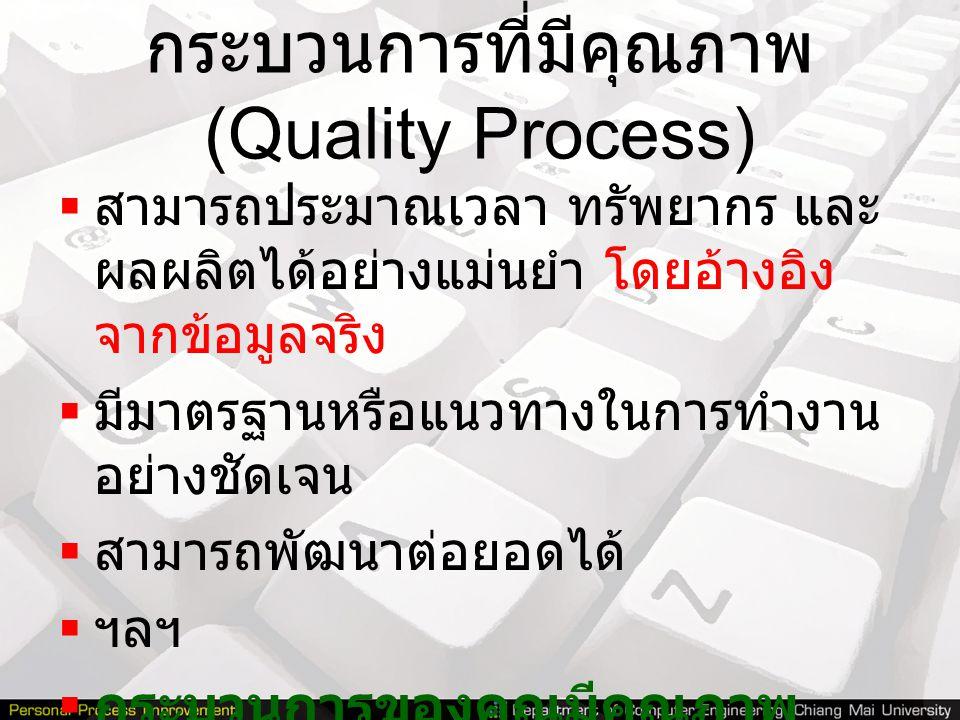 กระบวนการที่มีคุณภาพ (Quality Process)  สามารถประมาณเวลา ทรัพยากร และ ผลผลิตได้อย่างแม่นยำ โดยอ้างอิง จากข้อมูลจริง  มีมาตรฐานหรือแนวทางในการทำงาน อ