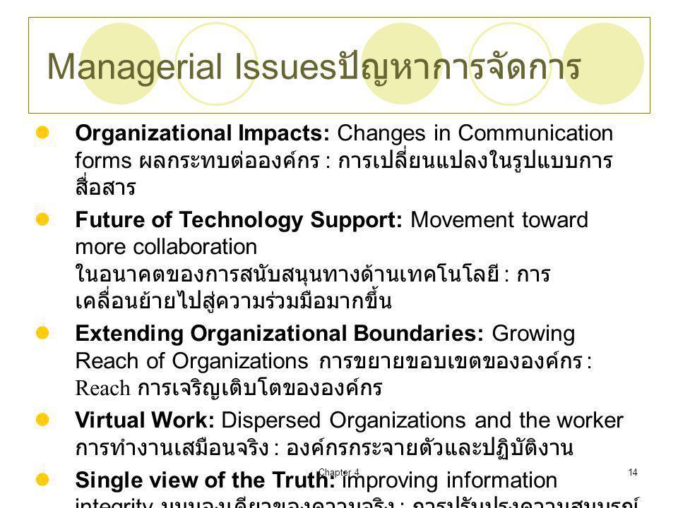 Chapter 414 Managerial Issues ปัญหาการจัดการ Organizational Impacts: Changes in Communication forms ผลกระทบต่อองค์กร : การเปลี่ยนแปลงในรูปแบบการ สื่อสาร Future of Technology Support: Movement toward more collaboration ในอนาคตของการสนับสนุนทางด้านเทคโนโลยี : การ เคลื่อนย้ายไปสู่ความร่วมมือมากขึ้น Extending Organizational Boundaries: Growing Reach of Organizations การขยายขอบเขตขององค์กร : Reach การเจริญเติบโตขององค์กร Virtual Work: Dispersed Organizations and the worker การทำงานเสมือนจริง : องค์กรกระจายตัวและปฏิบัติงาน Single view of the Truth: improving information integrity มุมมองเดียวของความจริง : การปรับปรุงความสมบูรณ์ ของข้อมูล Social and Ethical Issues ประเด็นทางสังคมและจริยธรรม