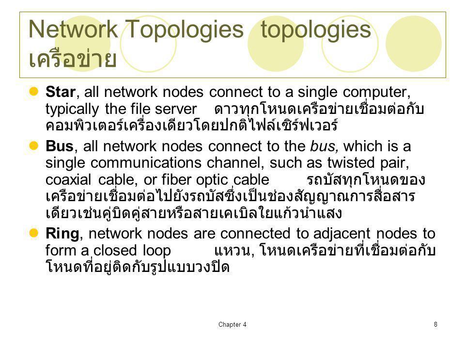 Chapter 48 Network Topologiestopologies เครือข่าย Star, all network nodes connect to a single computer, typically the file server ดาวทุกโหนดเครือข่ายเชื่อมต่อกับ คอมพิวเตอร์เครื่องเดียวโดยปกติไฟล์เซิร์ฟเวอร์ Bus, all network nodes connect to the bus, which is a single communications channel, such as twisted pair, coaxial cable, or fiber optic cable รถบัสทุกโหนดของ เครือข่ายเชื่อมต่อไปยังรถบัสซึ่งเป็นช่องสัญญาณการสื่อสาร เดียวเช่นคู่บิดคู่สายหรือสายเคเบิลใยแก้วนำแสง Ring, network nodes are connected to adjacent nodes to form a closed loop แหวน, โหนดเครือข่ายที่เชื่อมต่อกับ โหนดที่อยู่ติดกับรูปแบบวงปิด