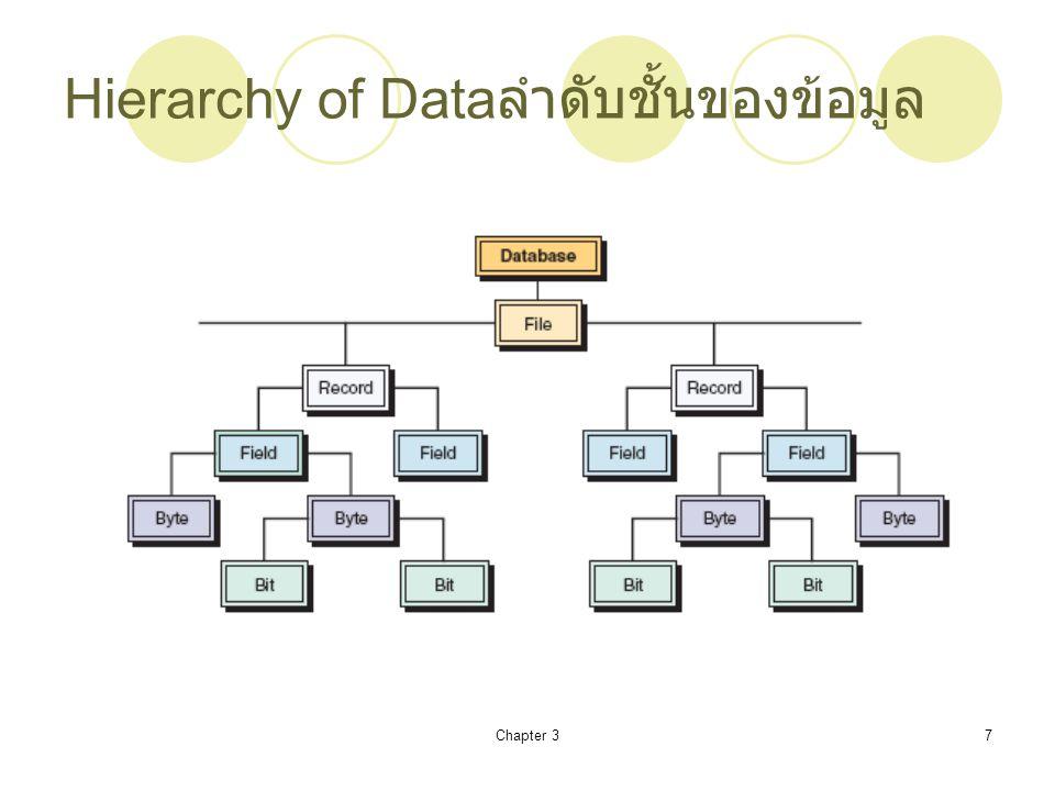 Chapter 38 Hierarchy of Data (cont'd) ลำดับชั้น ของข้อมูล