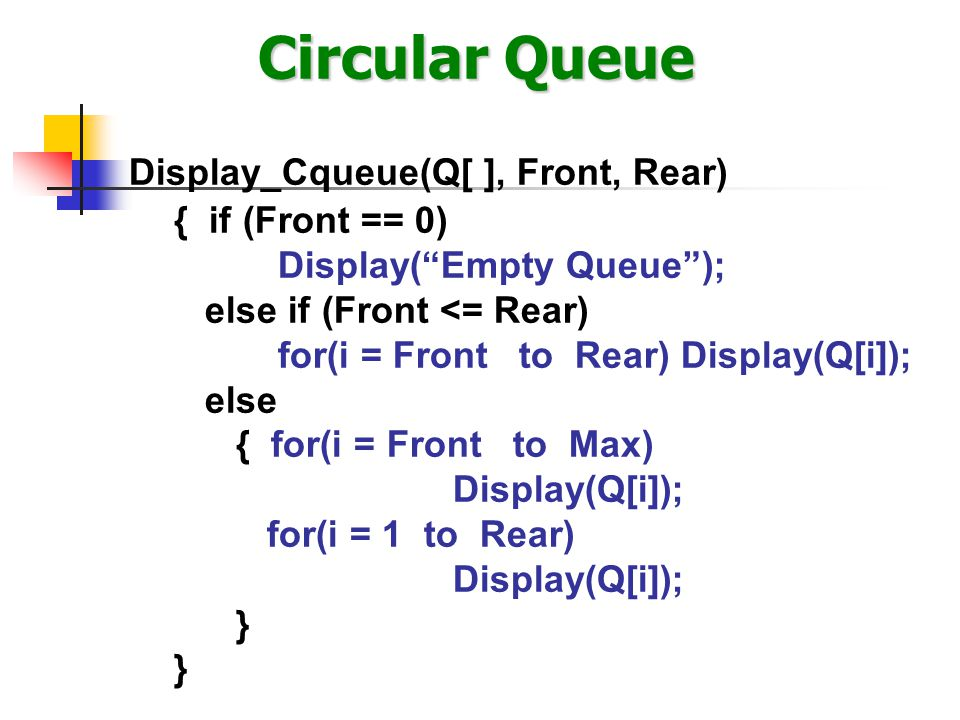 """Circular Queue Display_Cqueue(Q[ ], Front, Rear) { if (Front == 0) Display(""""Empty Queue""""); else if (Front <= Rear) for(i = Front to Rear) Display(Q[i]"""
