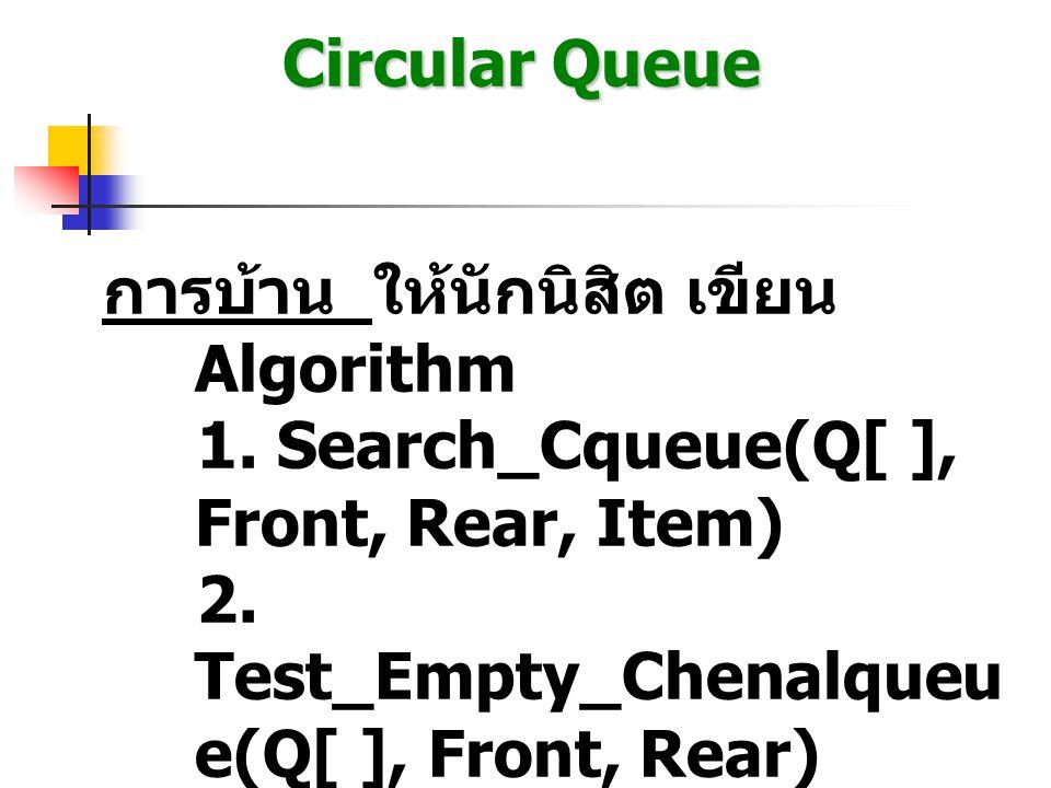 Circular Queue การบ้าน ให้นักนิสิต เขียน Algorithm 1. Search_Cqueue(Q[ ], Front, Rear, Item) 2. Test_Empty_Chenalqueu e(Q[ ], Front, Rear)