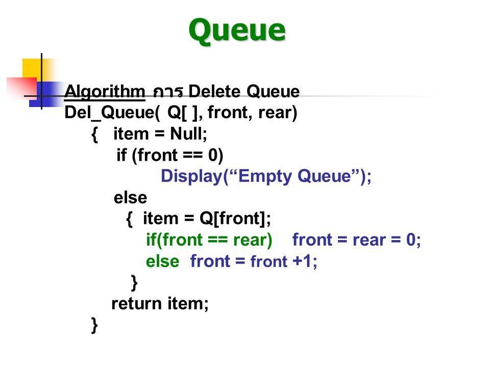 """Queue Algorithm การ Delete Queue Del_Queue( Q[ ], front, rear) { item = Null; if (front == 0) Display(""""Empty Queue""""); else { item = Q[front]; if(front"""