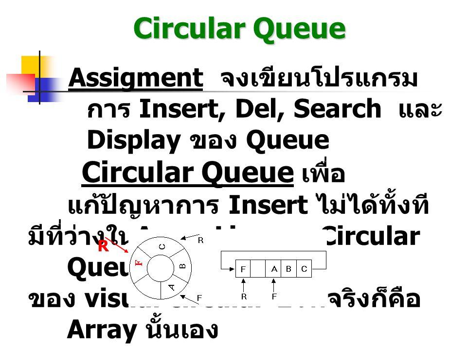 Circular Queue Assigment จงเขียนโปรแกรม การ Insert, Del, Search และ Display ของ Queue Circular Queue เพื่อ แก้ปัญหาการ Insert ไม่ได้ทั้งที มีที่ว่างใน