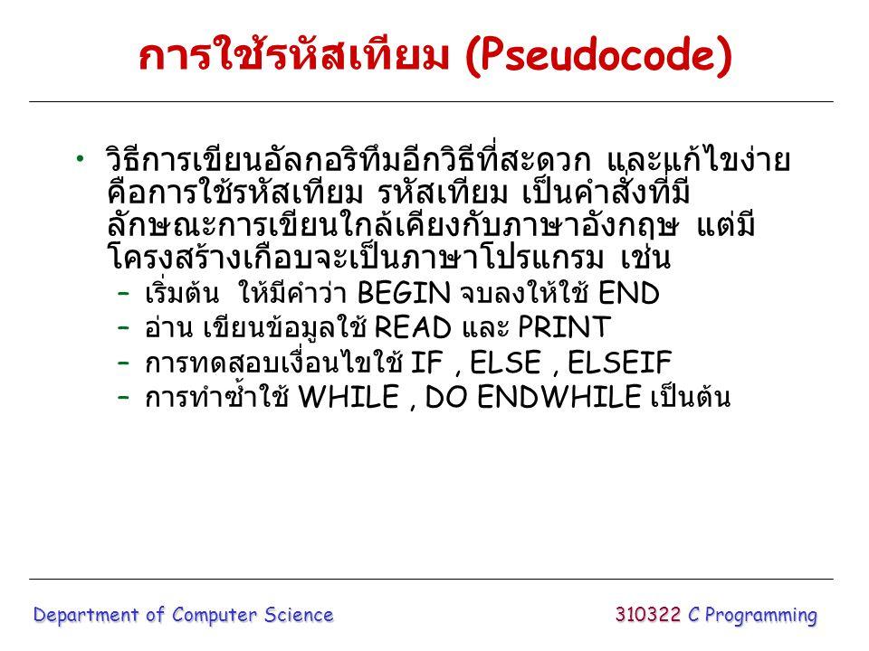 การใช้รหัสเทียม (Pseudocode) วิธีการเขียนอัลกอริทึมอีกวิธีที่สะดวก และแก้ไขง่าย คือการใช้รหัสเทียม รหัสเทียม เป็นคำสั่งที่มี ลักษณะการเขียนใกล้เคียงกั