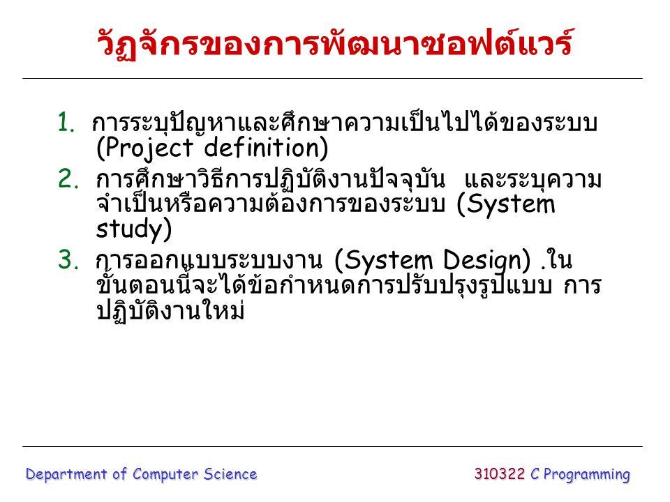 วัฏจักรของการพัฒนาซอฟต์แวร์ 1. การระบุปัญหาและศึกษาความเป็นไปได้ของระบบ (Project definition) 2. การศึกษาวิธีการปฏิบัติงานปัจจุบัน และระบุความ จำเป็นหร
