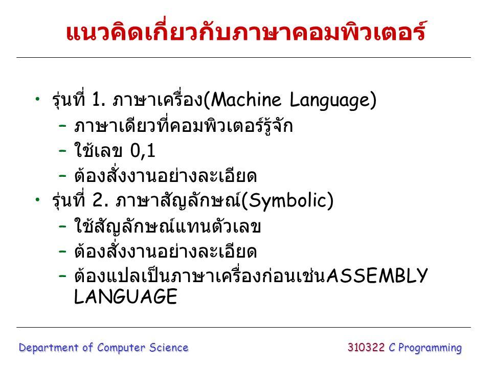 แนวคิดเกี่ยวกับภาษาคอมพิวเตอร์ รุ่นที่ 1. ภาษาเครื่อง (Machine Language) – ภาษาเดียวที่คอมพิวเตอร์รู้จัก – ใช้เลข 0,1 – ต้องสั่งงานอย่างละเอียด รุ่นที