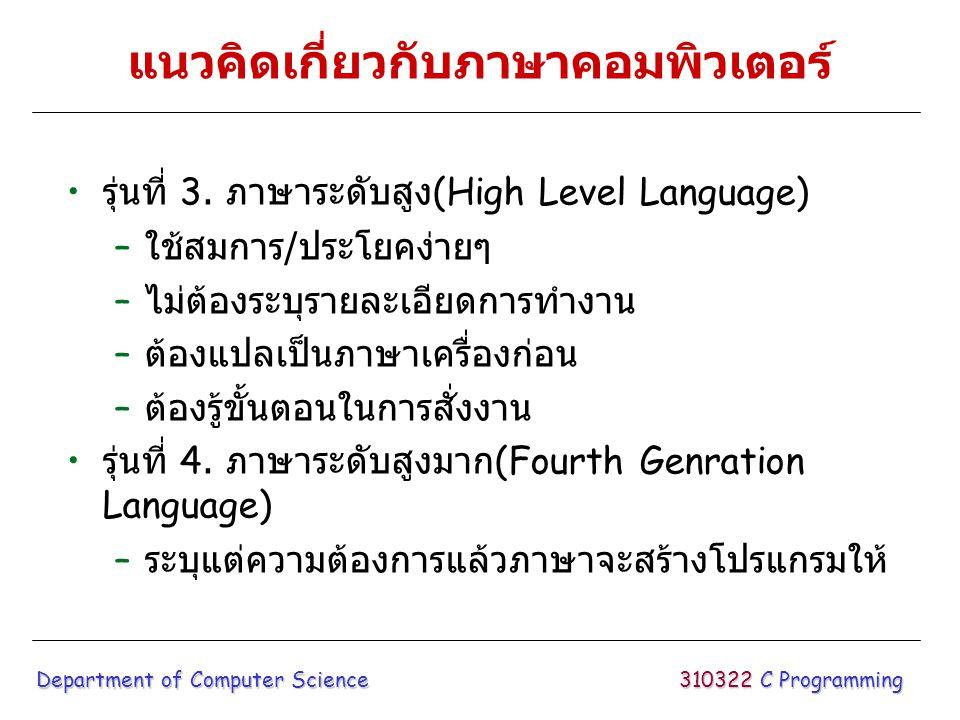 ภาษาสำคัญที่ใช้มาก FORTRAN ภาษาเก่าแก่ที่สุดเหมาะสำหรับงาน วิทยาศาสตร์/วิศวกรรม COBOL เหมาะสำหรับงานธุรกิจ RPG เหมาะสำหรับงานธุรกิจใช้มากในไทย BASIC เหมาะสำหรับงานทั่วไปทางธุรกิจ/ วิทยาศาสตร์ นิยมใช้กับเครื่อง ไมโครคอมพิวเตอร์ PASCAL เป็นภาษาที่มีโครงสร้างดี เหมาะสำหรับ ใช้สอน C ภาษาที่กำลังได้รับความนิยมสามารถสั่งการให้ ควบคุมฮาร์ดแวร์ได้ง่าย 310322 C Programming Department of Computer Science