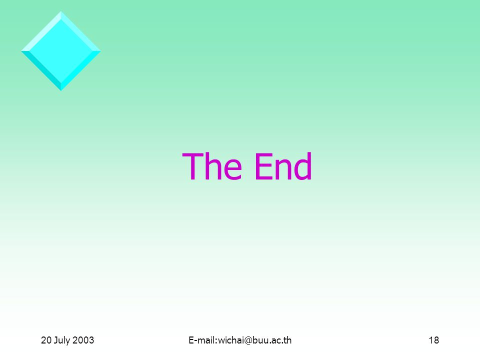 20 July 2003E-mail:wichai@buu.ac.th18 The End