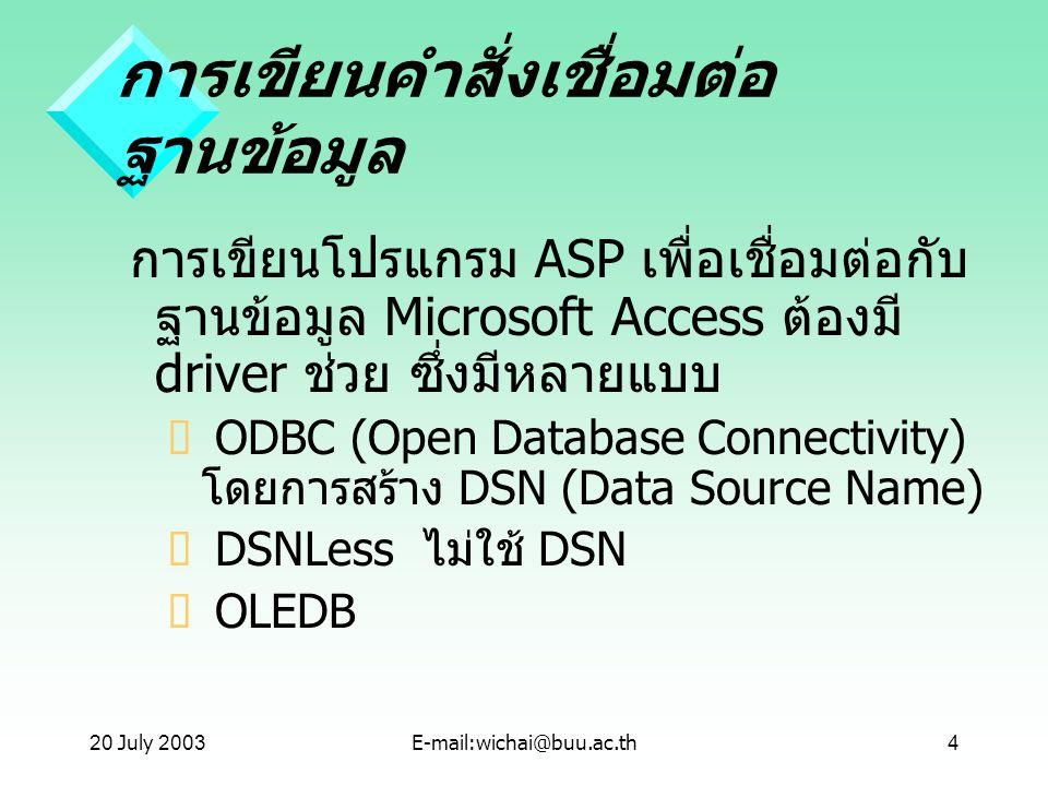 20 July 2003E-mail:wichai@buu.ac.th4 การเขียนคำสั่งเชื่อมต่อ ฐานข้อมูล การเขียนโปรแกรม ASP เพื่อเชื่อมต่อกับ ฐานข้อมูล Microsoft Access ต้องมี driver