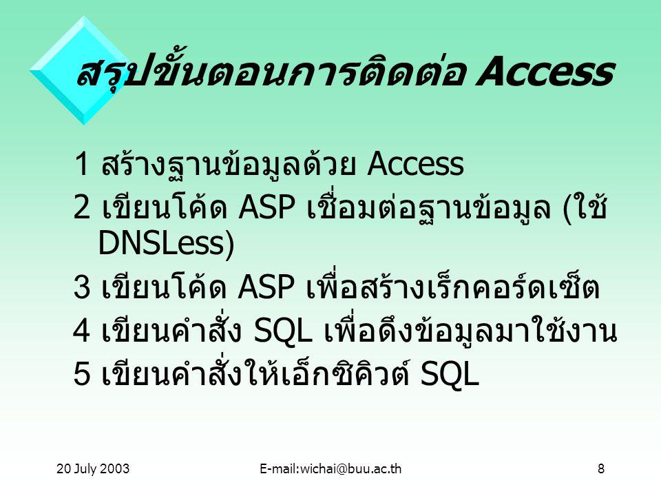 20 July 2003E-mail:wichai@buu.ac.th8 สรุปขั้นตอนการติดต่อ Access 1 สร้างฐานข้อมูลด้วย Access 2 เขียนโค้ด ASP เชื่อมต่อฐานข้อมูล ( ใช้ DNSLess) 3 เขียน