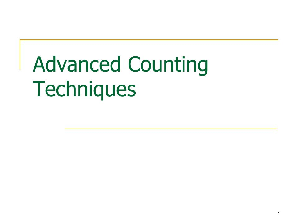 1 Advanced Counting Techniques