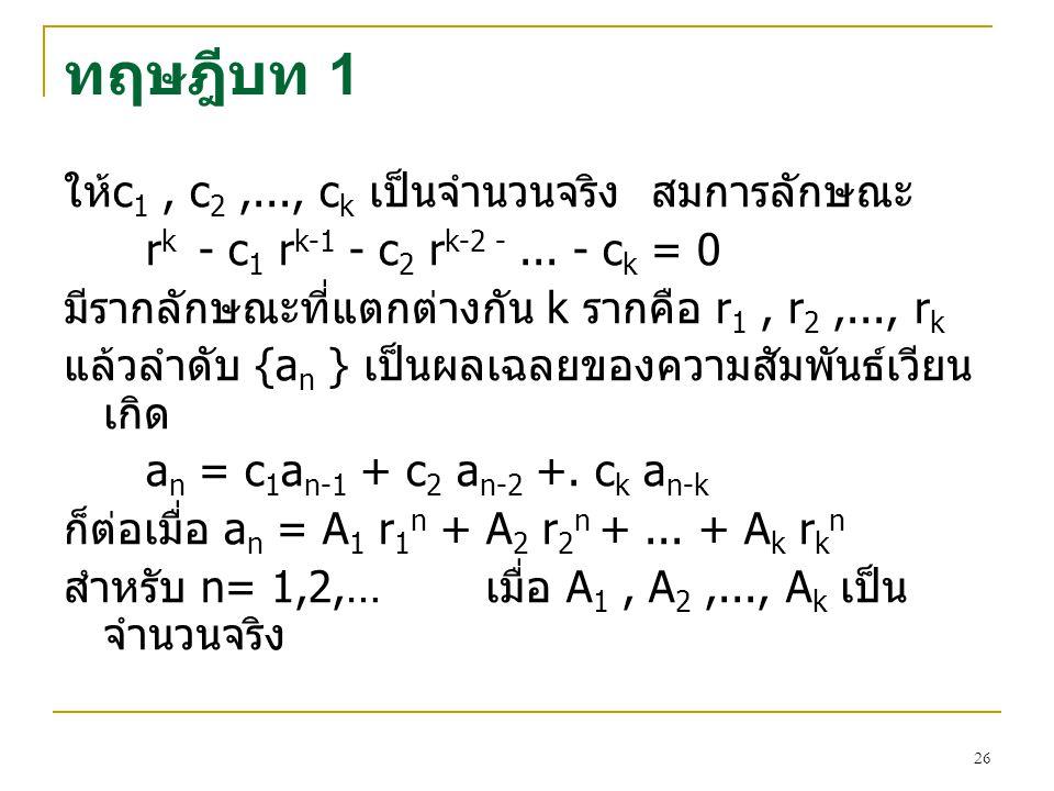 25 การแกสมการความสัมพันธเวียนเกิด เนื่องจากสมการ (7) เปนสมการที่อยูในรูปนิพจนพหุ นาม (Polynomial) ลําดับที่ k ดังนั้นจะมีคําตอบ สําหรับ r ทั้งหมด