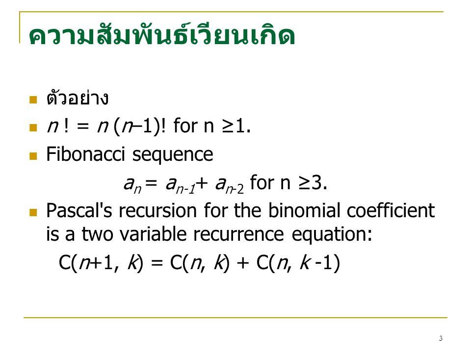 2 ความสัมพันธเวียนเกิด(Recurrence Relations) นิยาม 1 ความสัมพันธเวียนเกิด(Recurrence Relation) สําหรับลําดับ (sequence) {a n } คือสมการที่แสดง ความส
