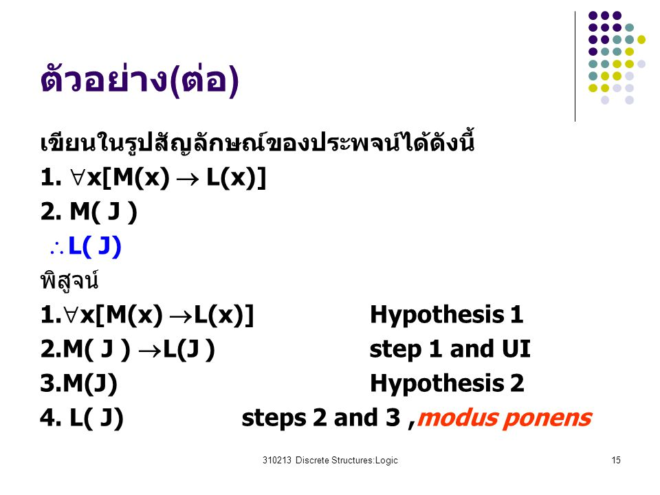 310213 Discrete Structures:Logic15 ตัวอย่าง(ต่อ) เขียนในรูปสัญลักษณ์ของประพจน์ได้ดังนี้ 1.  x[M(x)  L(x)] 2. M( J )  L( J) พิสูจน์ 1.  x[M(x)  L(