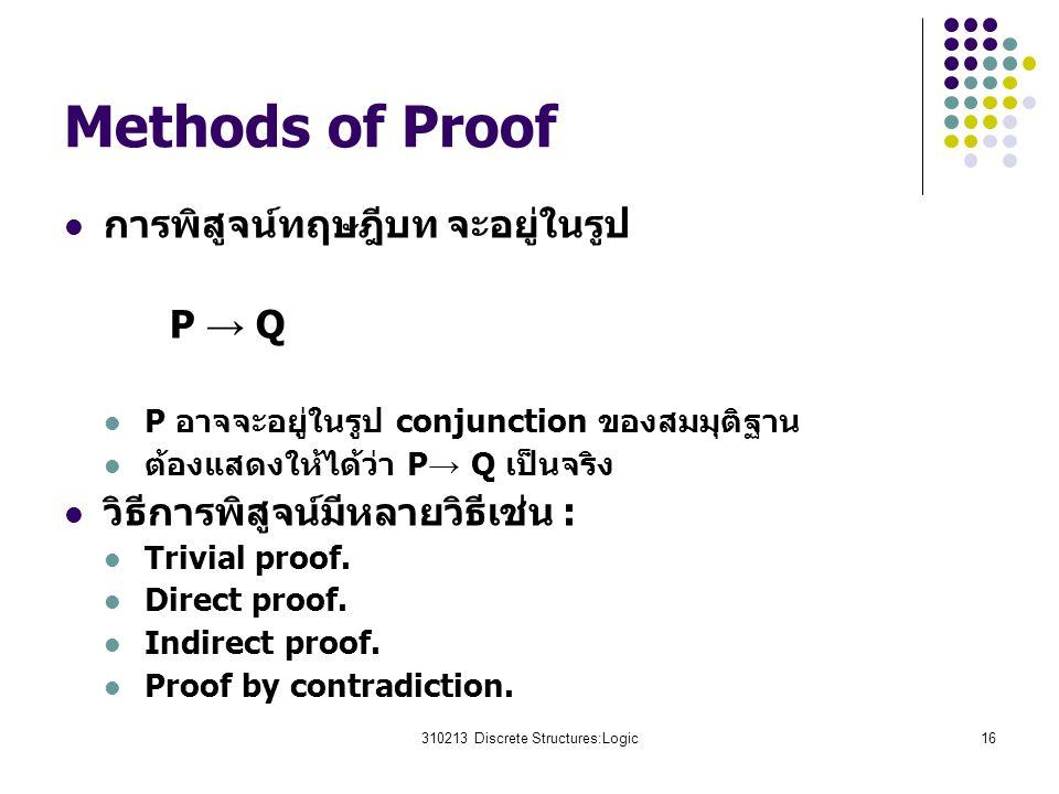 310213 Discrete Structures:Logic16 Methods of Proof การพิสูจน์ทฤษฎีบท จะอยู่ในรูป P → Q P อาจจะอยู่ในรูป conjunction ของสมมุติฐาน ต้องแสดงให้ได้ว่า P → Q เป็นจริง วิธีการพิสูจน์มีหลายวิธีเช่น : Trivial proof.