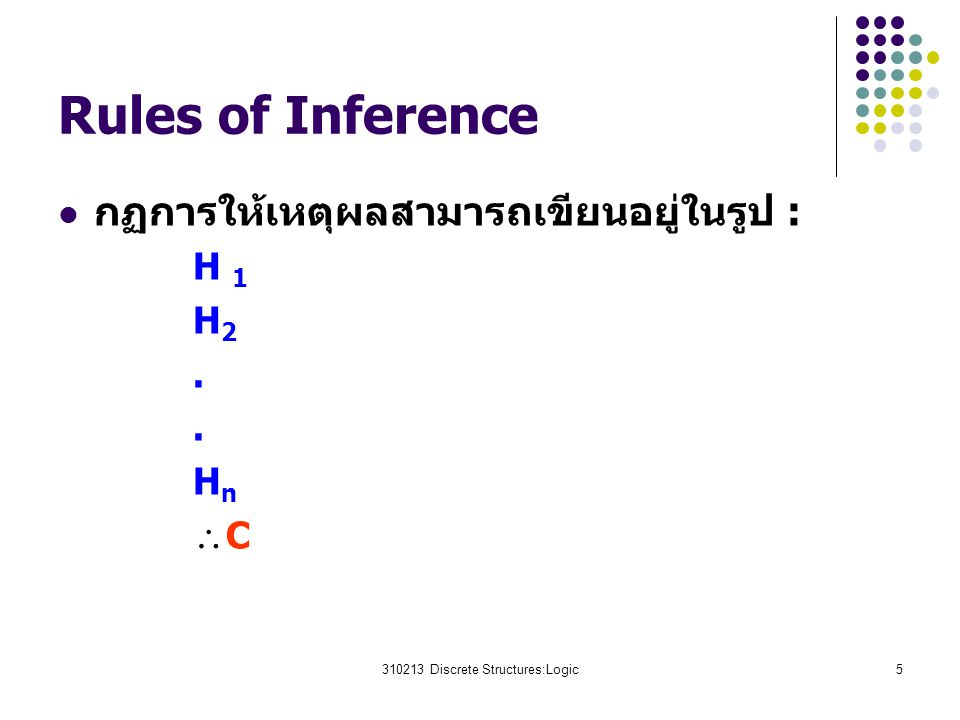 310213 Discrete Structures:Logic5 Rules of Inference กฏการให้เหตุผลสามารถเขียนอยู่ในรูป : H 1 H 2. H n  C