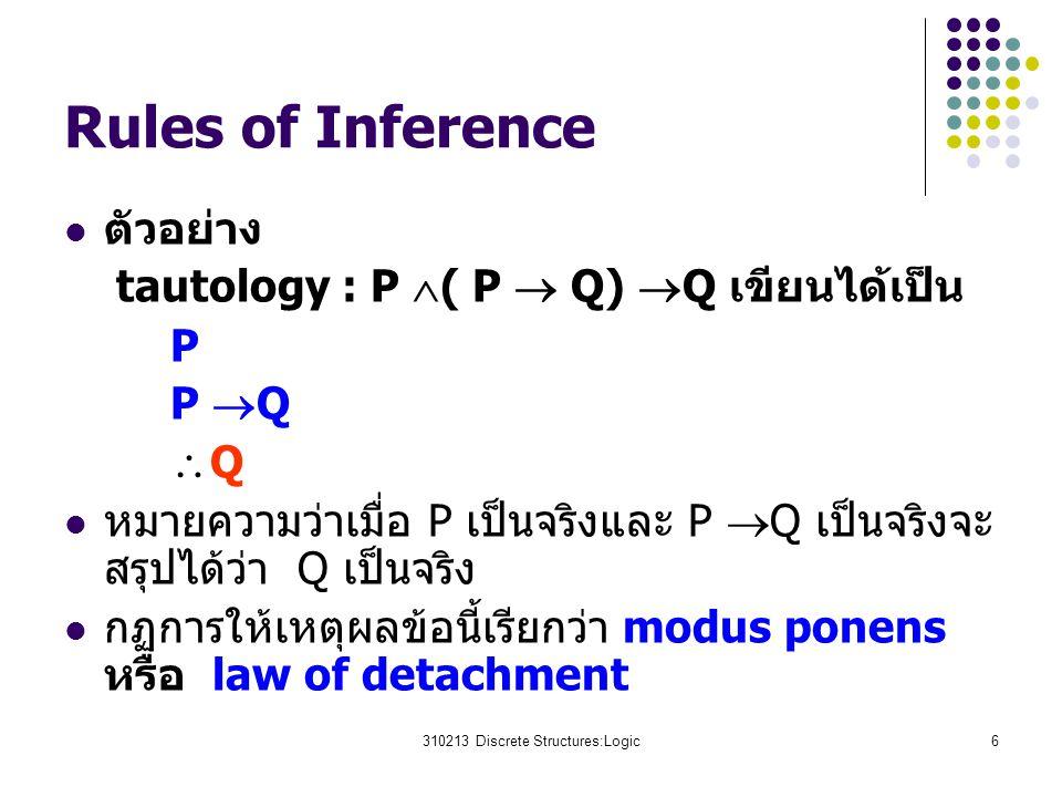 310213 Discrete Structures:Logic6 Rules of Inference ตัวอย่าง tautology : P  ( P  Q)  Q เขียนได้เป็น P P  Q  Q หมายความว่าเมื่อ P เป็นจริงและ P  Q เป็นจริงจะ สรุปได้ว่า Q เป็นจริง กฏการให้เหตุผลข้อนี้เรียกว่า modus ponens หรือ law of detachment
