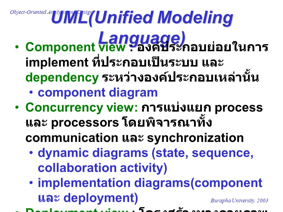 Burapha University, 2003 Object-Oriented Analysis and Design UML(Unified Modeling Language) Component view : องค์ประกอบย่อยในการ implement ที่ประกอบเป