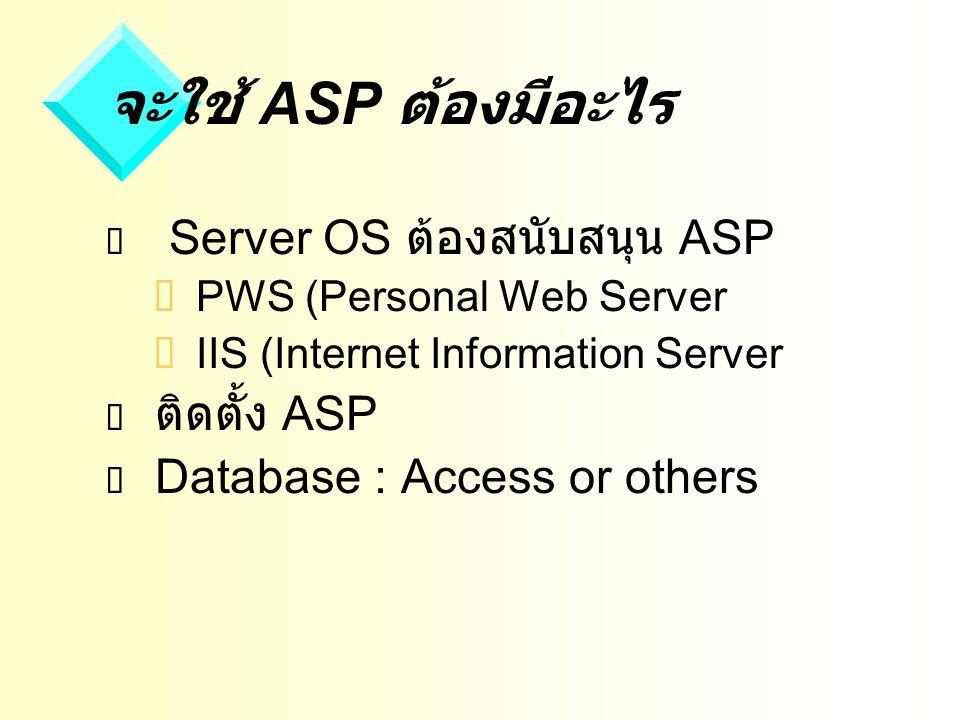 จะใช้ ASP ต้องมีอะไร  Server OS ต้องสนับสนุน ASP  PWS (Personal Web Server  IIS (Internet Information Server  ติดตั้ง ASP  Database : Access or others