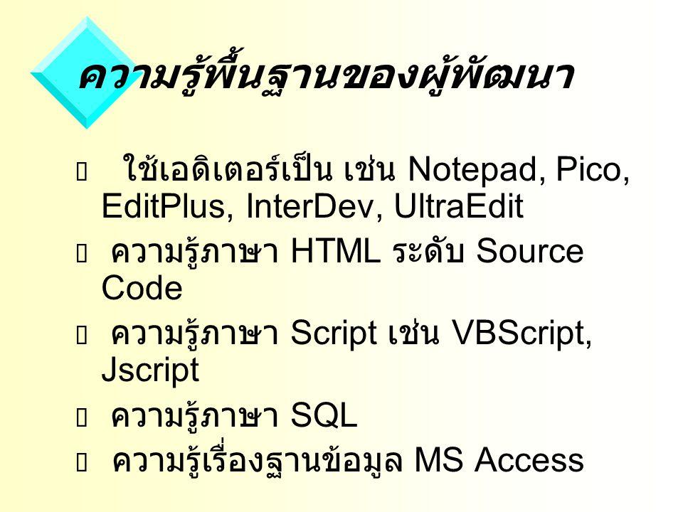 ความรู้พื้นฐานของผู้พัฒนา  ใช้เอดิเตอร์เป็น เช่น Notepad, Pico, EditPlus, InterDev, UltraEdit  ความรู้ภาษา HTML ระดับ Source Code  ความรู้ภาษา Script เช่น VBScript, Jscript  ความรู้ภาษา SQL  ความรู้เรื่องฐานข้อมูล MS Access