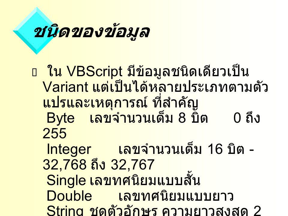 ชนิดของข้อมูล  ใน VBScript มีข้อมูลชนิดเดียวเป็น Variant แต่เป็นได้หลายประเภทตามตัว แปรและเหตุการณ์ ที่สำคัญ Byte เลขจำนวนเต็ม 8 บิต 0 ถึง 255 Integer เลขจำนวนเต็ม 16 บิต - 32,768 ถึง 32,767 Single เลขทศนิยมแบบสั้น Double เลขทศนิยมแบบยาว String ชุดตัวอักษร ความยาวสูงสุด 2 พันล้านตัวอักษร