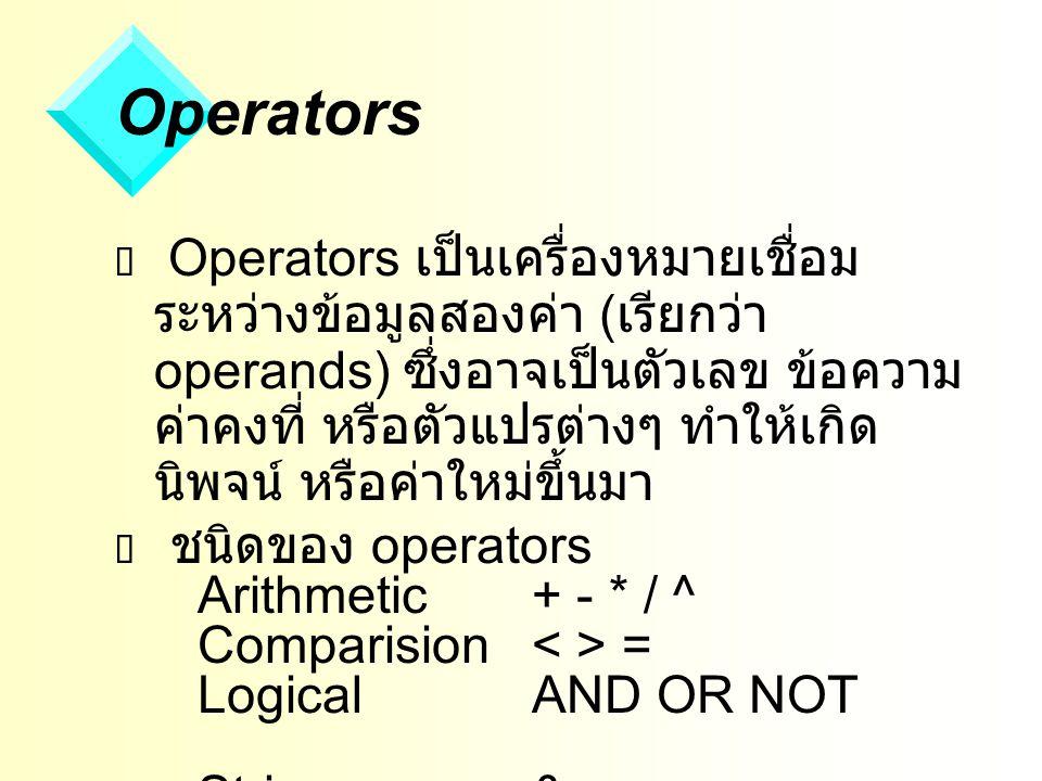 Operators  Operators เป็นเครื่องหมายเชื่อม ระหว่างข้อมูลสองค่า ( เรียกว่า operands) ซึ่งอาจเป็นตัวเลข ข้อความ ค่าคงที่ หรือตัวแปรต่างๆ ทำให้เกิด นิพจน์ หรือค่าใหม่ขึ้นมา  ชนิดของ operators Arithmetic+ - * / ^ Comparision = LogicalAND OR NOT String& +