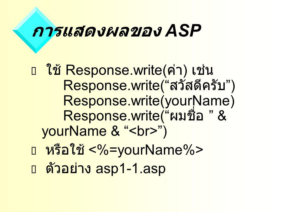 การแสดงผลของ ASP  ใช้ Response.write( ค่า ) เช่น Response.write( สวัสดีครับ ) Response.write(yourName) Response.write( ผมชื่อ & yourName & )  หรือใช้  ตัวอย่าง asp1-1.asp