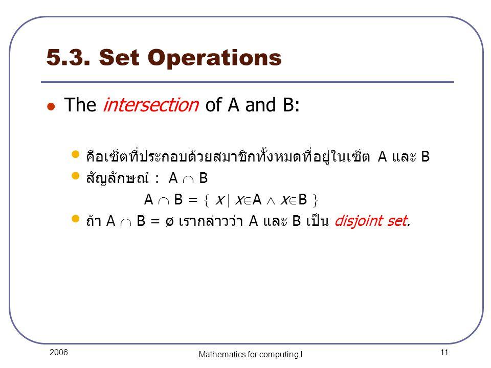 11 2006 Mathematics for computing I 5.3.