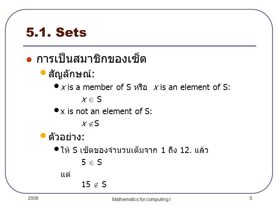 16 2006 Mathematics for computing I 5.3.