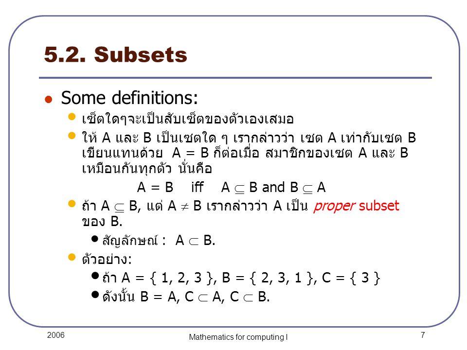 18 2006 Mathematics for computing I 5.4. Venn Diagrams