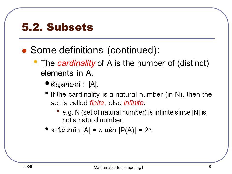 20 2006 Mathematics for computing I 5.4.Venn Diagrams Question: What's the Venn Diagram of A  B.