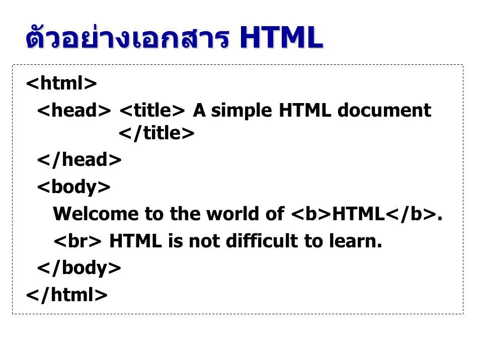 ตัวอย่างเอกสาร HTML A simple HTML document Welcome to the world of HTML. HTML is not difficult to learn.