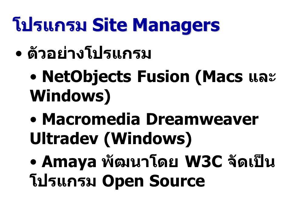 โปรแกรม Site Managers ตัวอย่างโปรแกรม NetObjects Fusion (Macs และ Windows) Macromedia Dreamweaver Ultradev (Windows) Amaya พัฒนาโดย W3C จัดเป็น โปรแกร