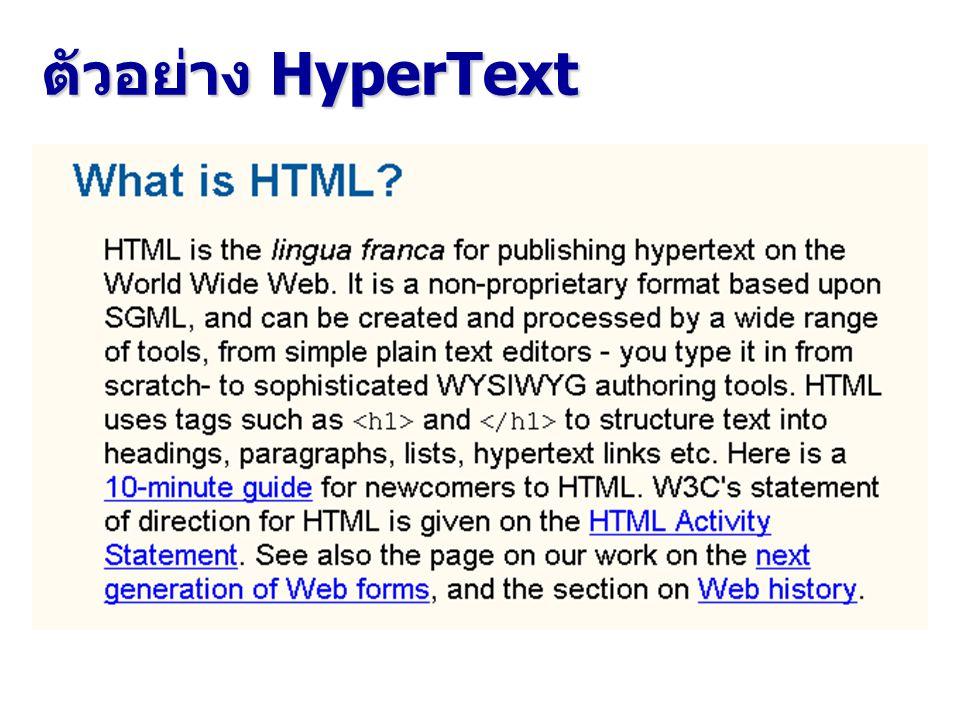 ภาษาหลักที่ใช้สร้างเว็บเพจ เทคโนโลยีหลักของการสร้างเอกสาร เว็บ กำหนดโดย W3C ได้แก่ HTML (HyperText Markup Language) CSS (Cascading Style Sheet) XML (eXtensible Markup Language) XTML (eXtensible HyperText Markup Language) XSL (eXtensible Style Language)