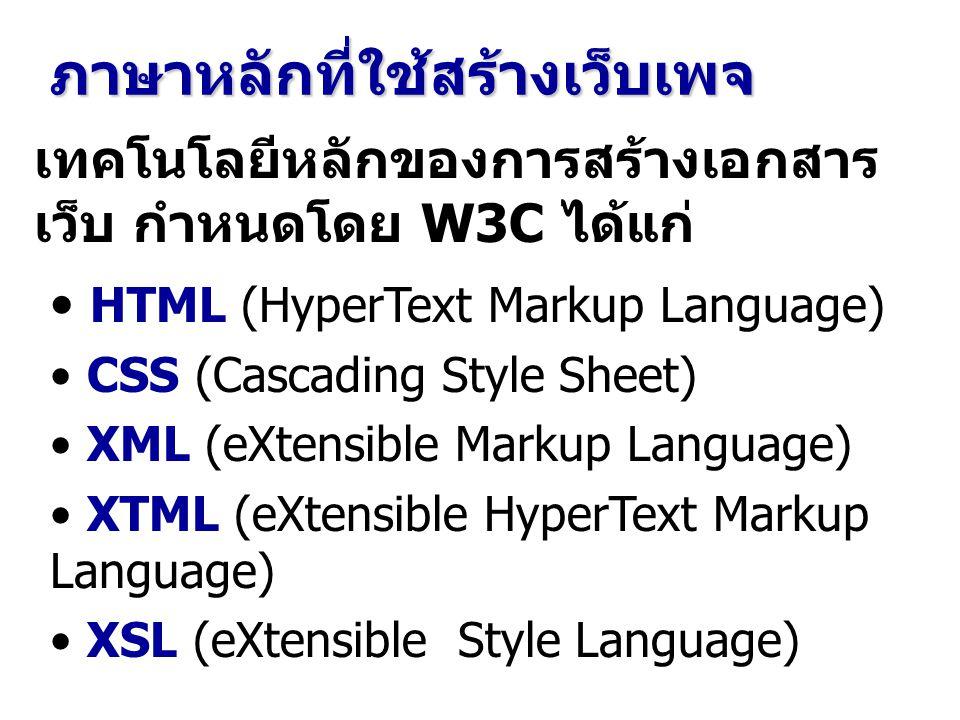 ภาษาหลักที่ใช้สร้างเว็บเพจ เทคโนโลยีหลักของการสร้างเอกสาร เว็บ กำหนดโดย W3C ได้แก่ HTML (HyperText Markup Language) CSS (Cascading Style Sheet) XML (e