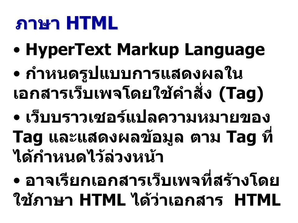 เอกสาร HTML แฟ้ม HTML เป็นเอกสารประเภท Text ประกอบด้วย ข้อความที่ต้องการแสดงผล คำสั่งควบคุมการแสดงผลข้อความ เรียกว่า Tag เขียนอยู่ภายใน เครื่องหมาย ส่วนชื่อและ ส่วนขยายของ Tag ที่เขียนอยู่ ระหว่างเครื่องหมาย
