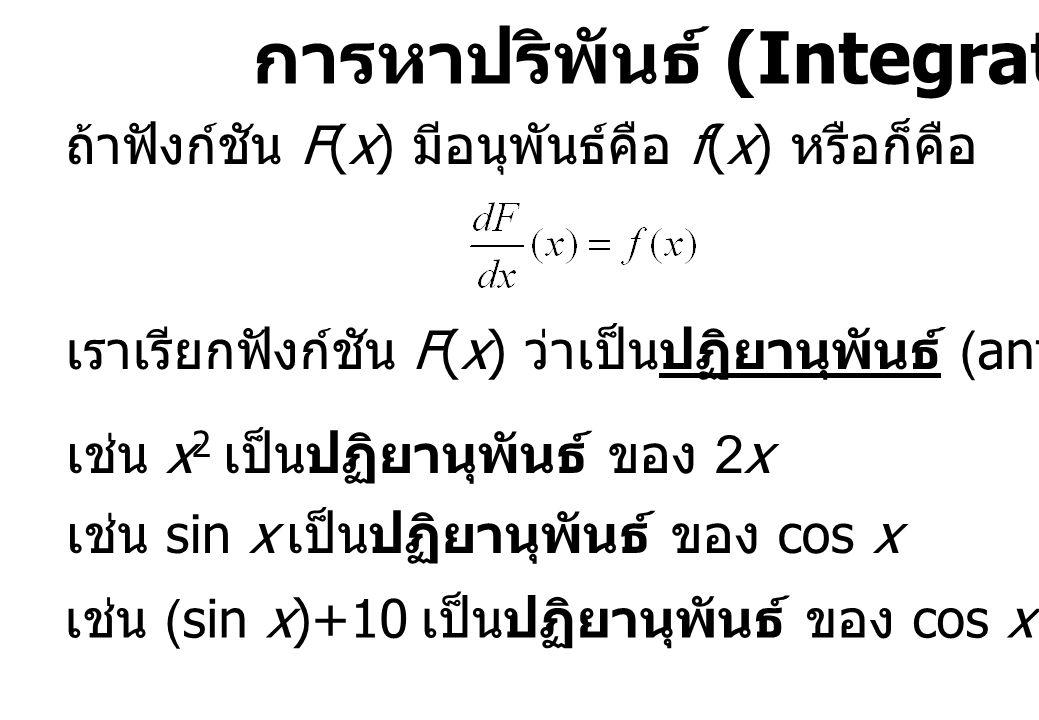 การหาปริพันธ์ (Integration) ถ้าฟังก์ชัน F(x) มีอนุพันธ์คือ f(x) หรือก็คือ เราเรียกฟังก์ชัน F(x) ว่าเป็นปฏิยานุพันธ์ (antiderivative) ของ f(x) เช่น x 2