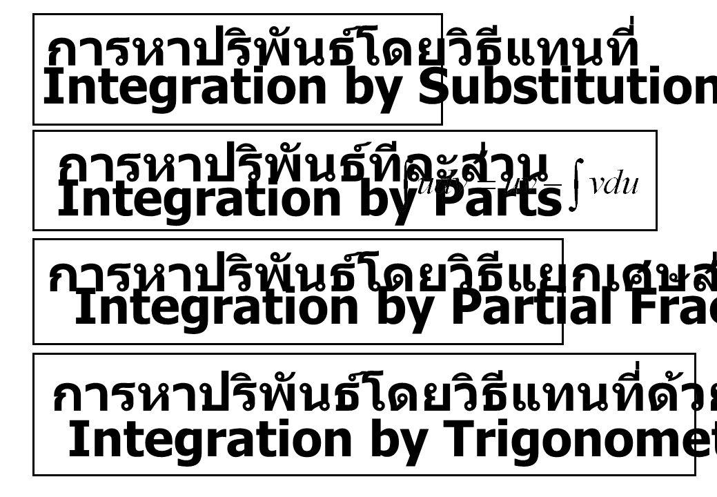 การหาปริพันธ์โดยวิธีแทนที่ Integration by Substitution การหาปริพันธ์ทีละส่วน Integration by Parts การหาปริพันธ์โดยวิธีแยกเศษส่วนย่อย Integration by Pa