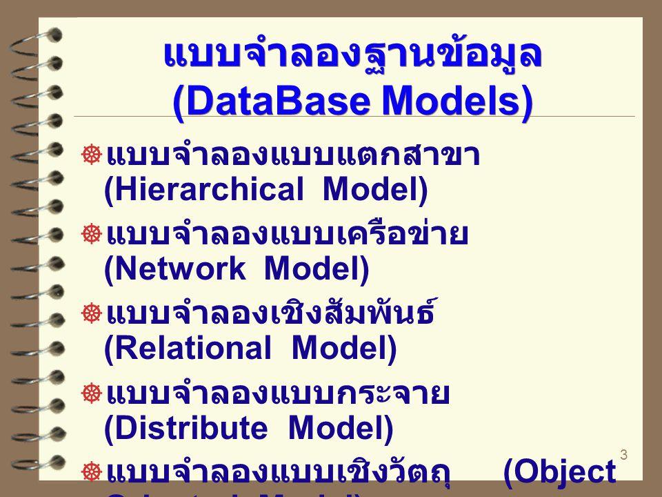 3 แบบจำลองฐานข้อมูล (DataBase Models)  แบบจำลองแบบแตกสาขา (Hierarchical Model)  แบบจำลองแบบเครือข่าย (Network Model)  แบบจำลองเชิงสัมพันธ์ (Relatio