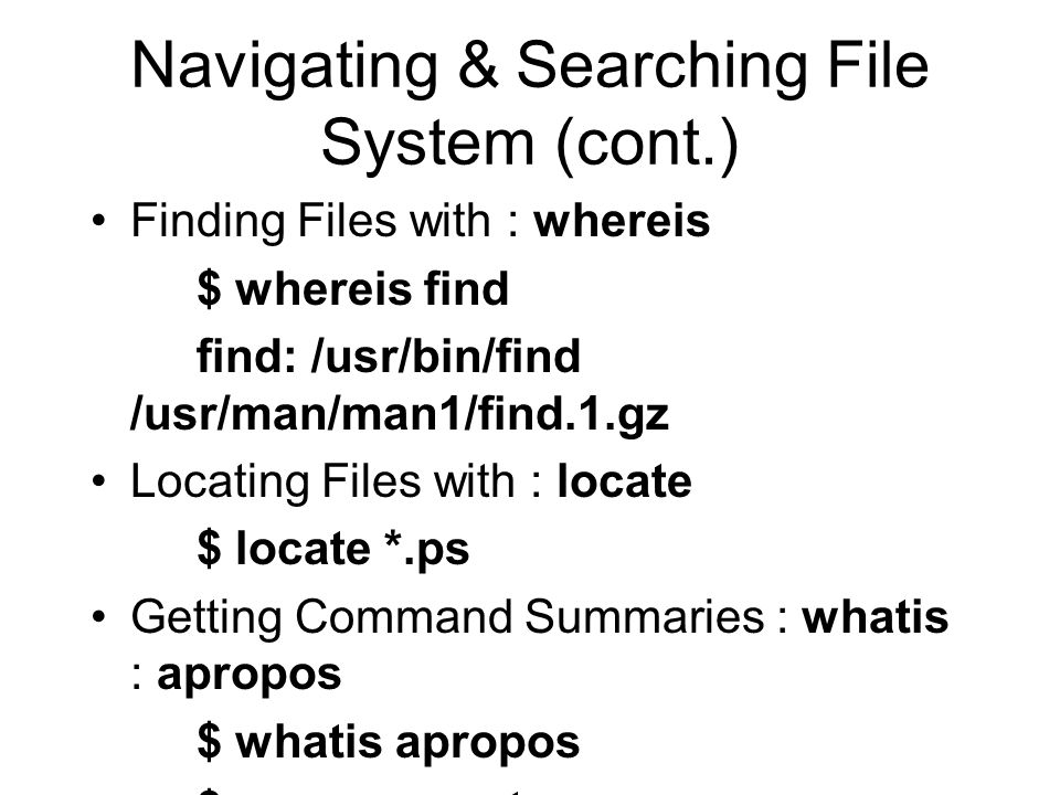 Reading Directories & Files Listing Directories with : ls : Listing Directory with : dir : vdir : $ dir $ vdir Listing & Combining Files with : cat : Reading Files with : more : Browsing Files with : less :