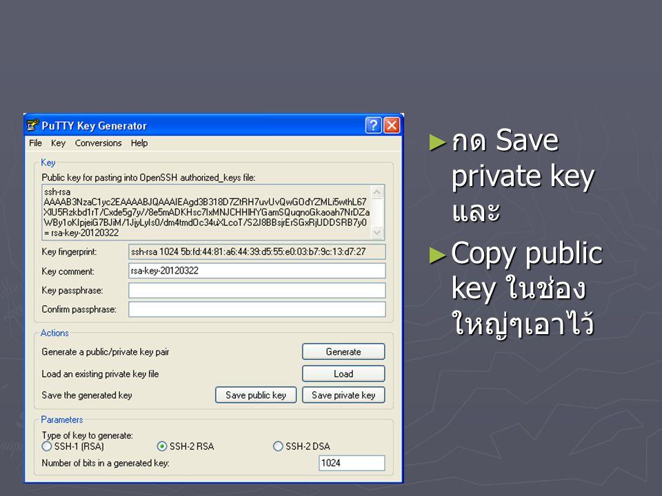 ► กด Save private key และ ► Copy public key ในช่อง ใหญ่ๆเอาไว้
