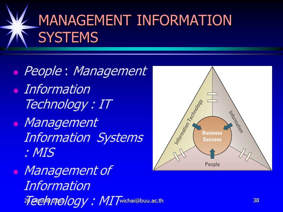 20 October 2010wichai@buu.ac.th38 MANAGEMENT INFORMATION SYSTEMS People : Management Information Technology : IT Management Information Systems : MIS