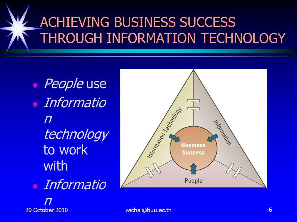 321450 Management of Information Technology ผู้ช่วยศาสตราจารย์วิชัย บุญเจือ ผู้ช่วยศาสตราจารย์วิชัย บุญเจือ E-mail : wichai@buu.ac.th http://www.informatics.buu.ac.th/~wic hai http://seashore.buu.ac.th/~wichai